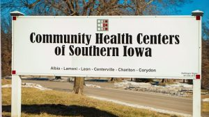 Community Health Centers of Southern Iowa Sign white with Black text