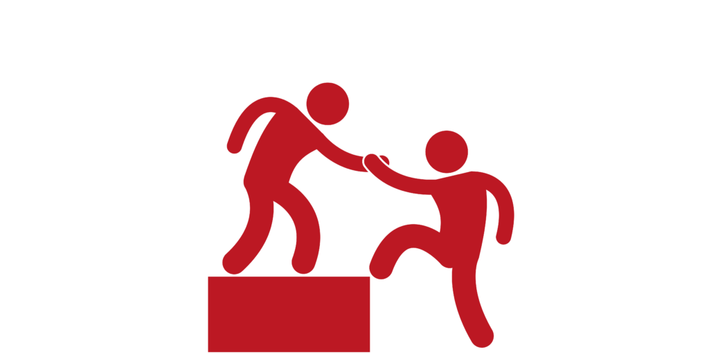 red clipart shows one person helping another