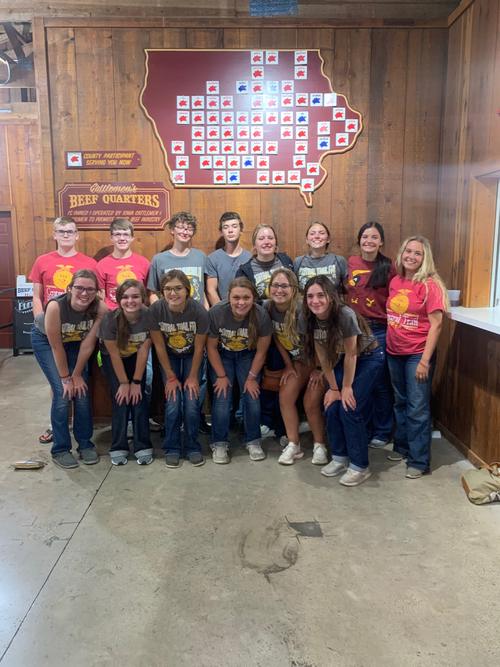 Central Trail FFA members pose at the Iowa State Fair Cattleman's Quarters
