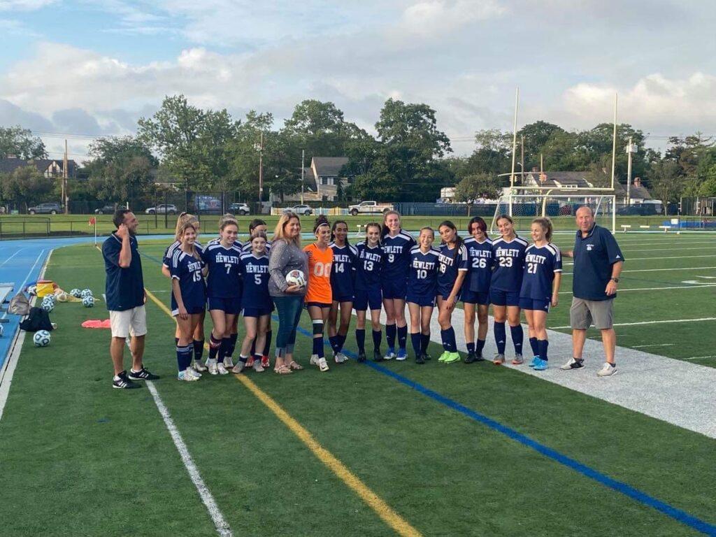 Kerry Welch and the Hewlett High School girls soccer team