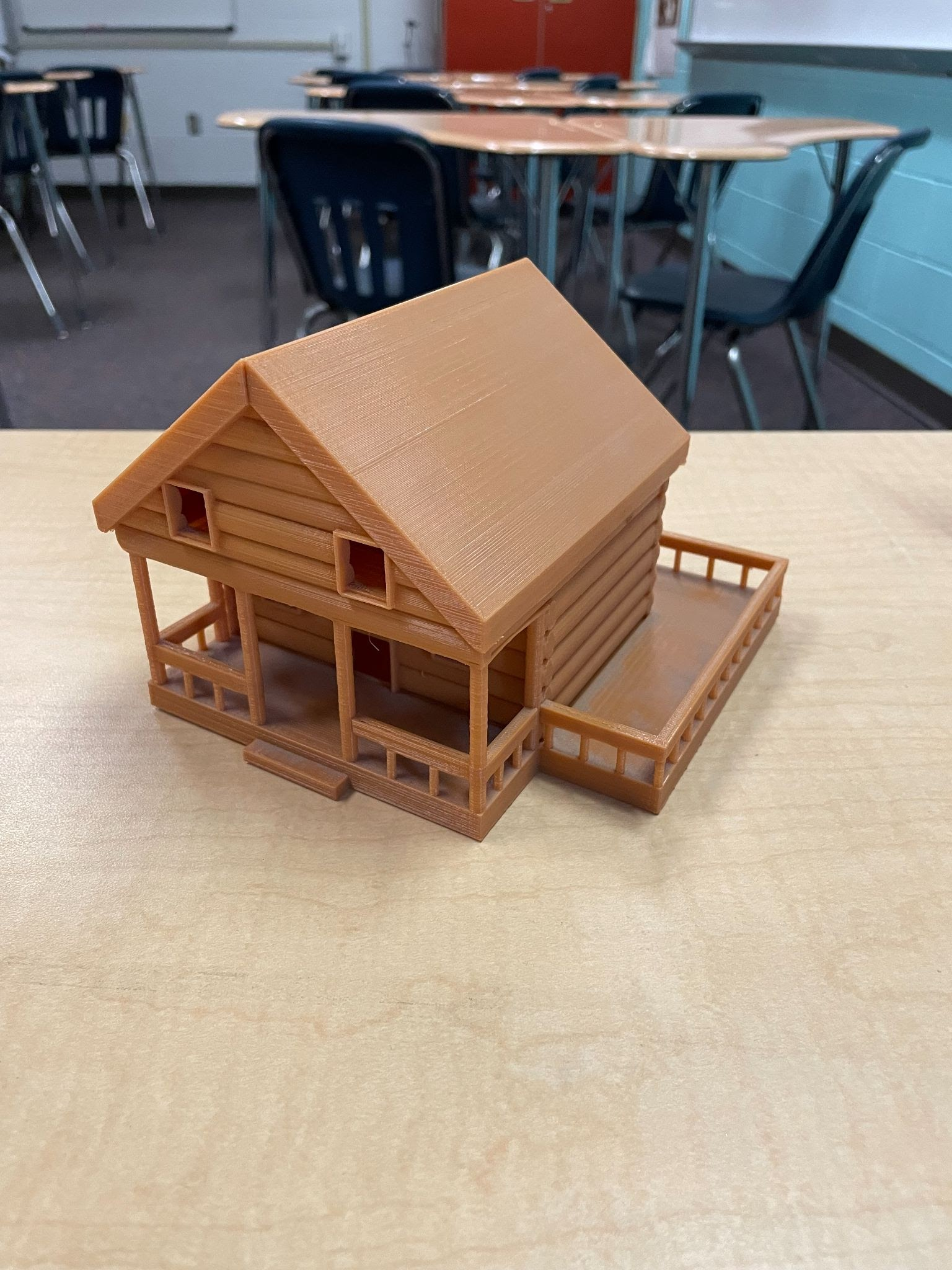 scaled model of a 3D printed log home