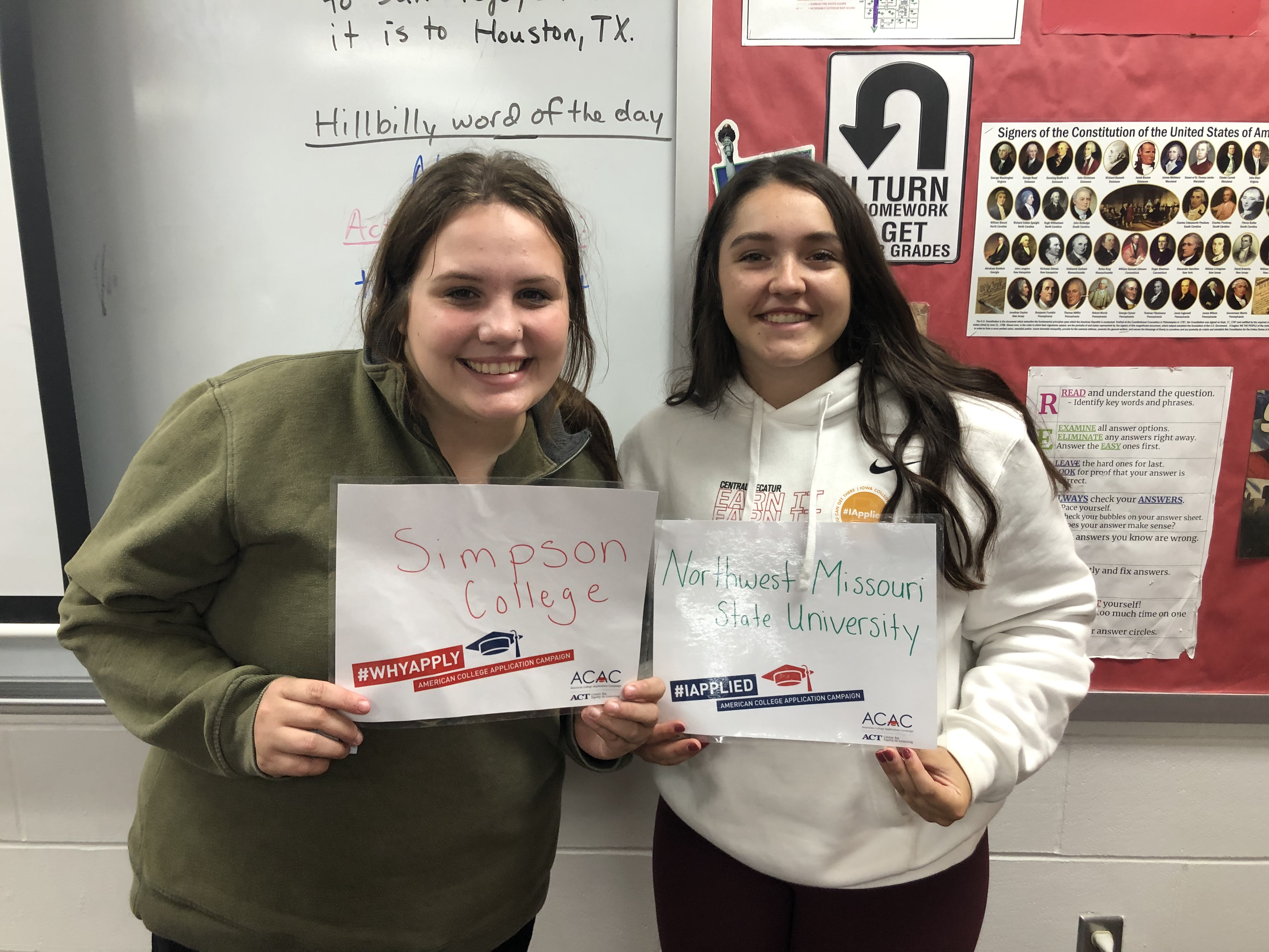 Cadence Clark '22 and Mara Dykes '22 shared their school choices for #WhyApply Day. Clark has chosen Simpson College and Dykes has chosen Northwest Missouri State University.