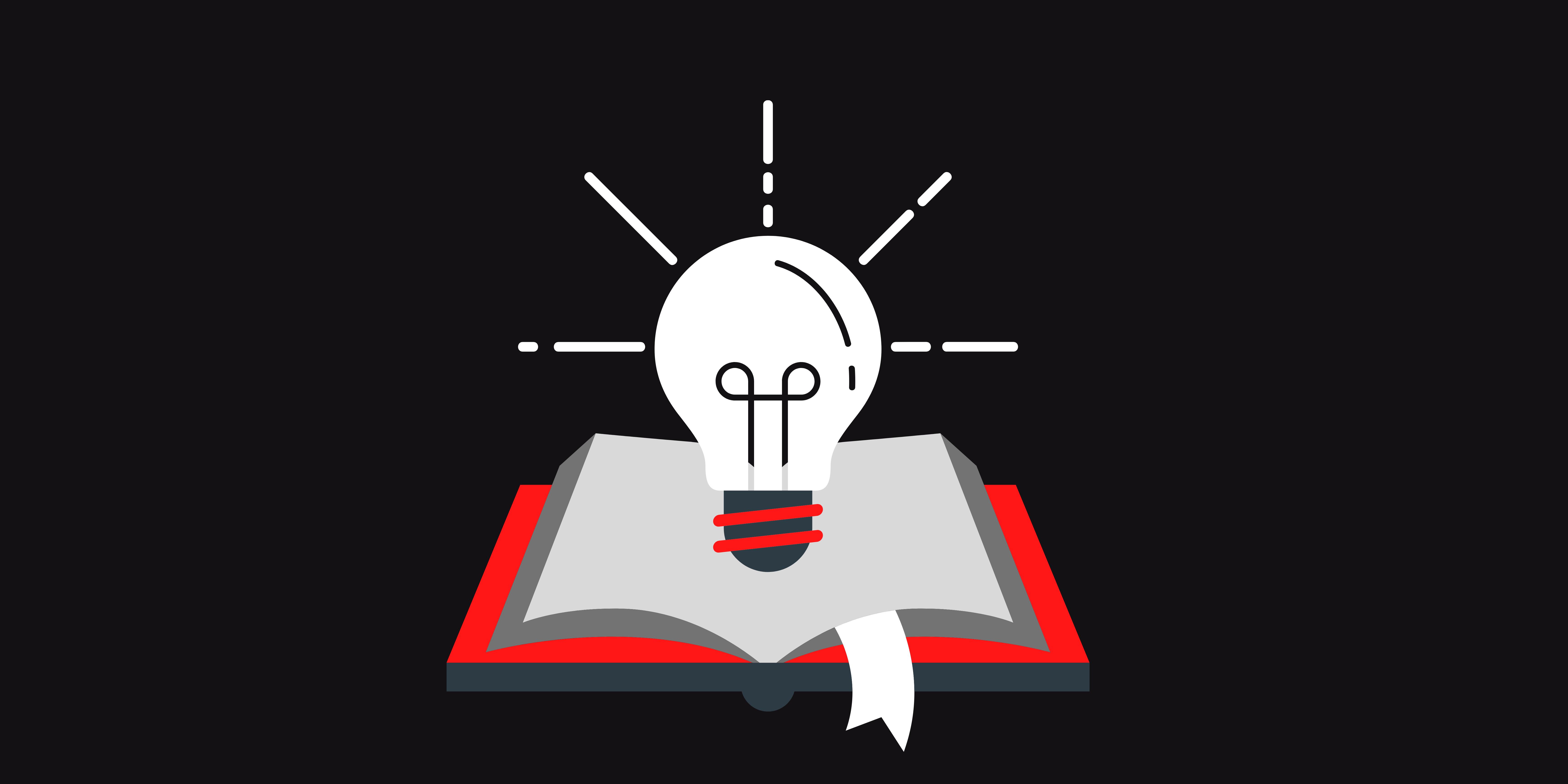 clipart: white lightbulb shines above an open book