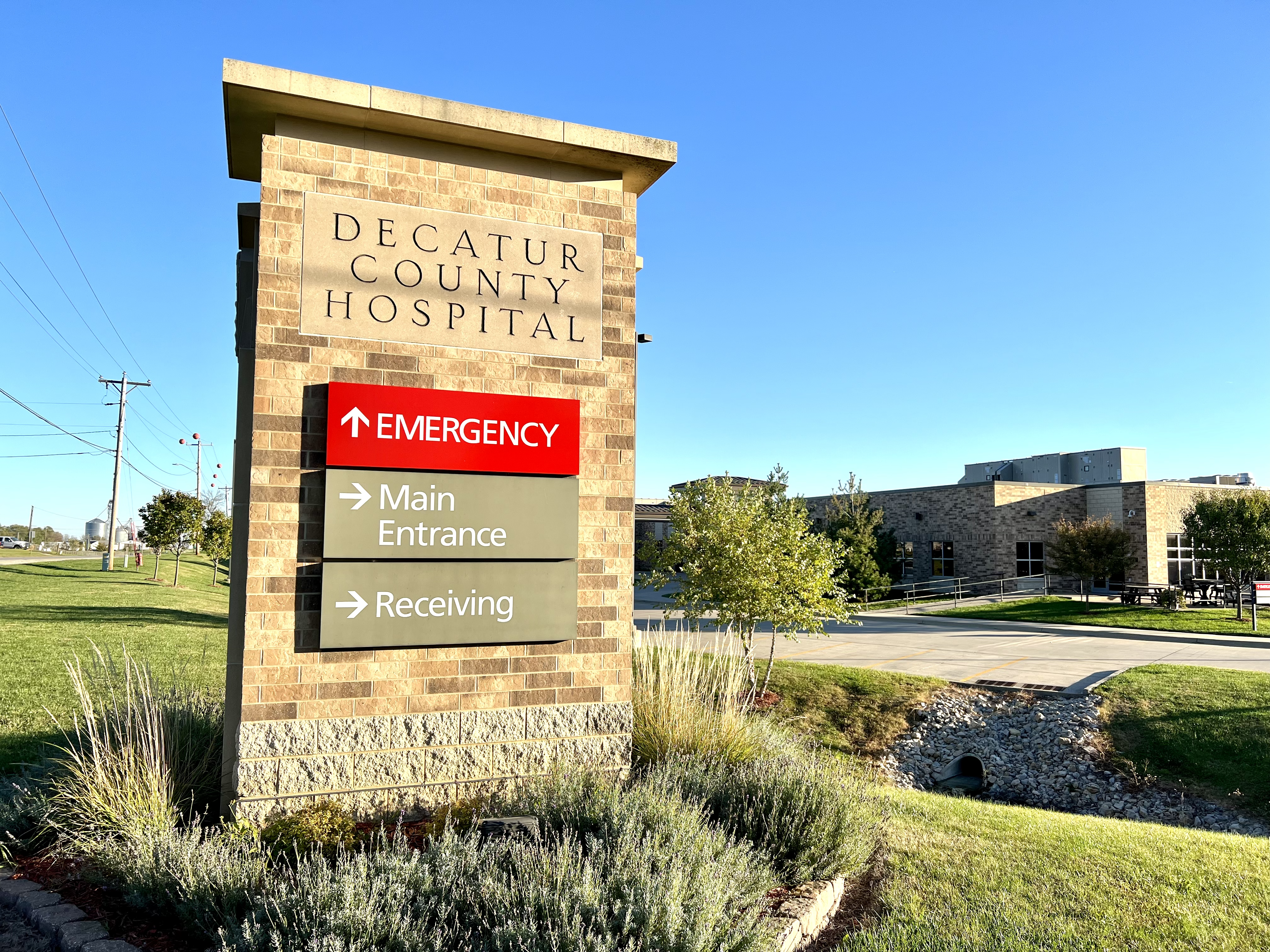 Decatur County Hospital Sign in Front of Hospital