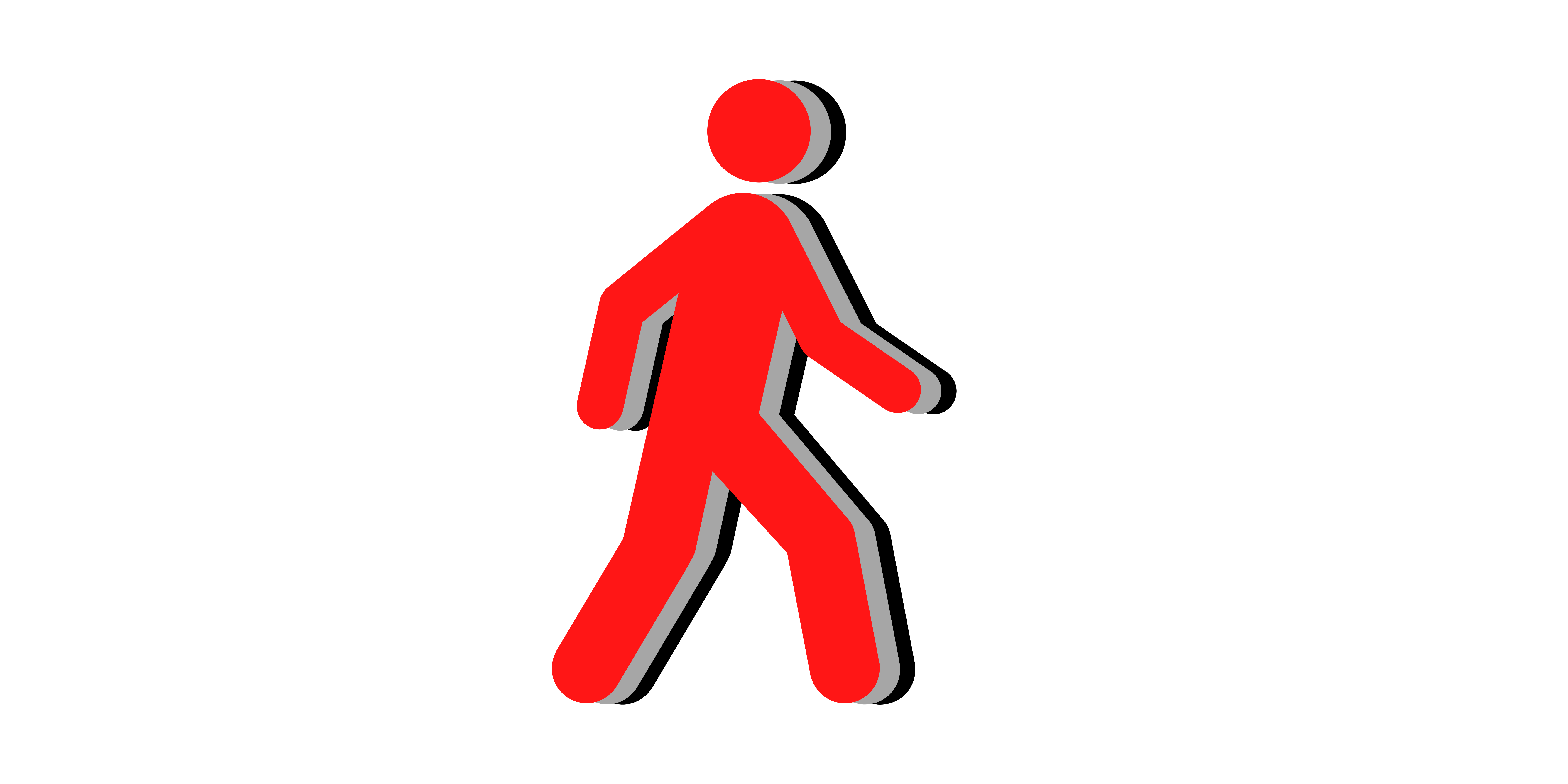red person outline with a gray and black shadow